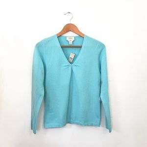 Talbots MP Blue 100% Cashmere VNeck Sweater NWT